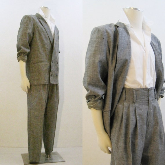 80s Suit Vintage Flecked Baggy Double Breasted Jacket And