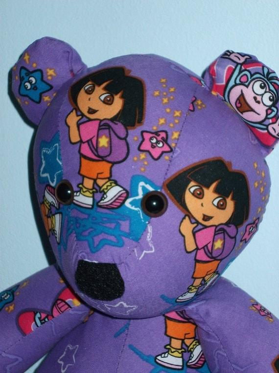 Teddy Bear Dora Monkey Stars Explore Pink Orange Purple Backpack