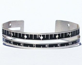 Ruler Bracelet- Sewing Gauge Bracelet, Metal Cuff Bracelet, Sewing Gift, Upcycled Ruler Jewelry, Silver & Black, Found Object Jewelry