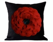 Large Red Felt Flower DESIGNER PILLOW COVER - Black Linen - Black Wood Retro Button by JillianReneDecor Decorative Home Decor Gift for Her