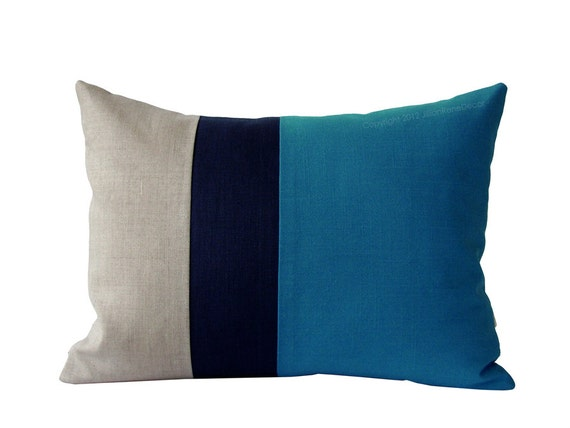Color Block Stripe Pillow in Blue, Navy and Natural Linen by JillianReneDecor Modern Home Decor Stripe Trio Boys Kids Room (Ready to Ship)