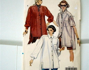 Uncut Vintage Vogue Sewing Pattern size  14 16 18 very easy loose fitting SHIRT 3 Styles LONG