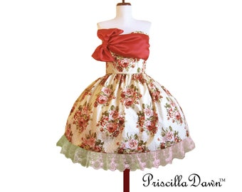 CUSTOM in YOUR Size Strawberry Pop Cupcake 1950 Vintage Handmade Bow Dress.