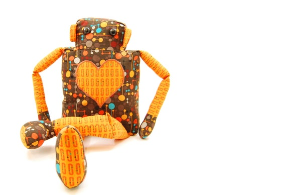 FINISHED ITEM CuddleBot Sewn Robot Toy in Brown and Orange Circuits