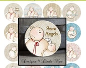 Pinback BUTTON Images 1 inch round 1.313 overall size - Snowman Angels Collage Sheet AMERICAN BUTTON Machine Tecre