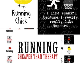 Instant Download - Running Quotes (1 x 1 inch) Images  SALE -  Digital Collage Sheet printable stickers magnet button sports star