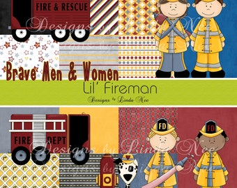 Lil Fireman Paper Pack and Clip Art Set - Commercial Personal Use Printable Digital Scrapbooking Background