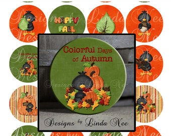 Pinback BUTTON Images 2.25 inch round 2.625 overall size - Autumn Crows 1 Digital Collage Sheet AMERICAN BUTTON Machine Tecre