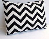 Accent Pillow Cover -  Black and White Chevron Zigzag Designer Fabric - 12 x 18 - Invisible Zipper Closure