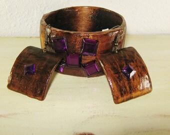 Wooden Bracelet and Earrings, Wooden Bracelet, Rustic Jewelry, Primitive Jewelry, Purple Rhinestones, Jewelry set, Handmade