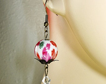 Flower Earrings, Dangle Earrings, Fuchsia, Red and Green, Fuchsia Pink, Clear Crystal Beads, Modern Vintage, Hand Painted, Handmade