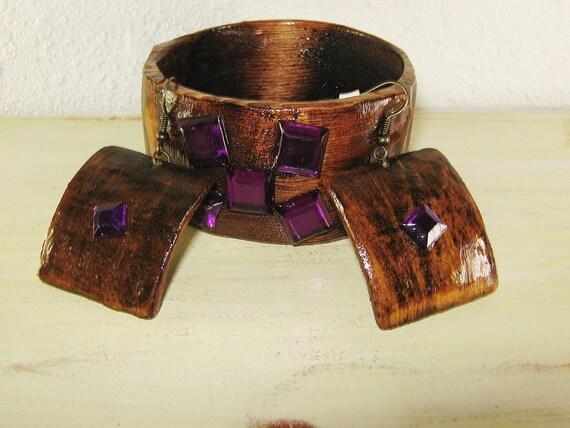 Wooden Bracelet and Earrings - Wooden Bracelet - Rustic Jewelry - Primitive Jewelry - Purple Rhinestones - Jewelry set - Handmade