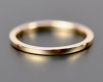 Gold Wedding Band 1.5mm by 1.5mm Flat Edge Ring, Solid 18K Rose Gold
