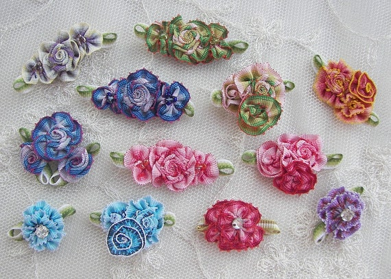 12 pc ombre grosgrain ribbon stone beaded flower scrapbook baby doll bow
