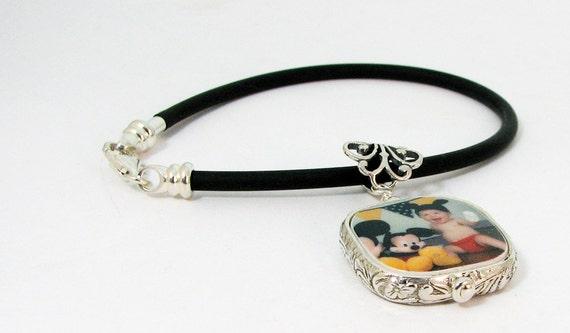 Photo Charm Framed in Sterling on a Black Rubber Bracelet - Small - FP3RFfB