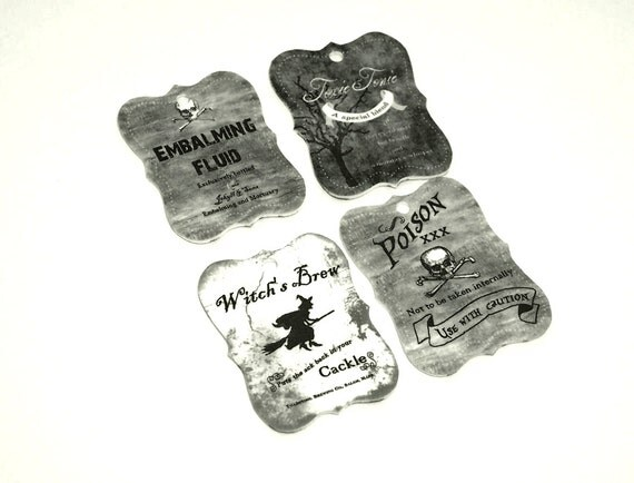 Deadly Poison charms 4pc .... toxic tonic, poison, embalming fluid, witches brew