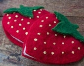 Delicious Strawberry Needlebook/ Travel Earring Case