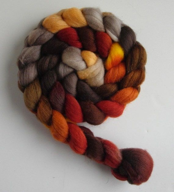 Polwarth/Silk Roving (Top) - Handpainted Spinning or Felting Fiber, Fall Foliage 6