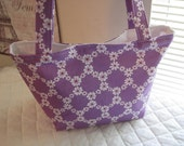 Lavender Purple Purse Tote Diaper Bag with White Daisy Chain Lattice CUSTOM MADE to ORDER Choose your Size