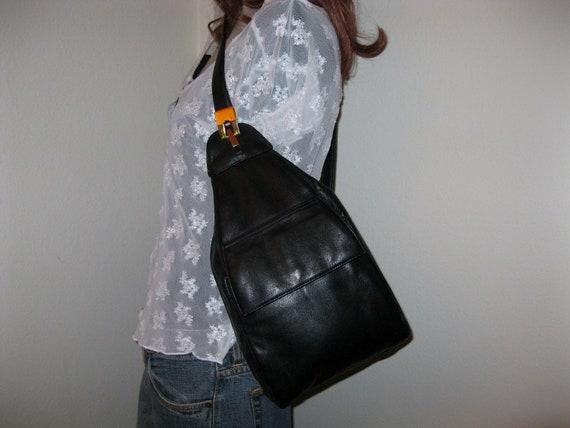 Saks Fifth Avenue med size sling bag purse tote butter soft wet gen leather