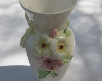 Vintage Hand-painted Italian Ceramic Vase with Flowers and Yellow Bow