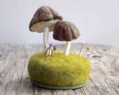 Pin Cushion Needle Felted Miniature Mushrooms Pincushion Sewing Accessories Nature Scene Sewing Table Decor Made To Order