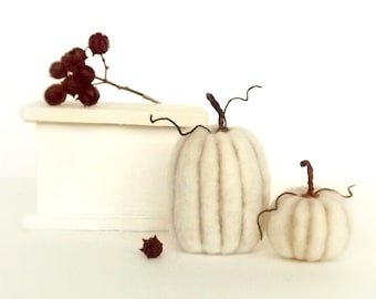 Rustic Pumpkin Decor Set of 2 Felted Miniatures Harvest Table Autumn Halloween Thanksgiving Made To Order