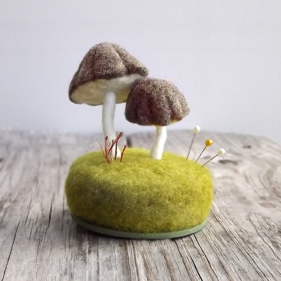 Pincushion Felted Mushrooms in Heather Brown Nature Scene Desk Home Decor Wool Sculpture Made To Order