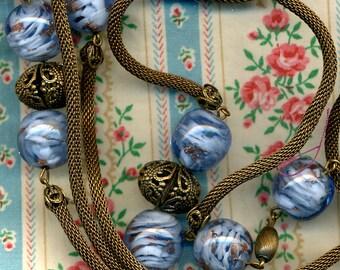 1930s Brass & Murano Glass Necklace