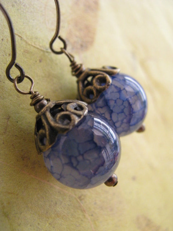 Blue Dragon Vein Agate and Antique Bronze Earrings