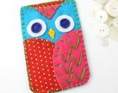 Felt Owl Iphone Case Cozy Samsung Galaxy MADE TO ORDER