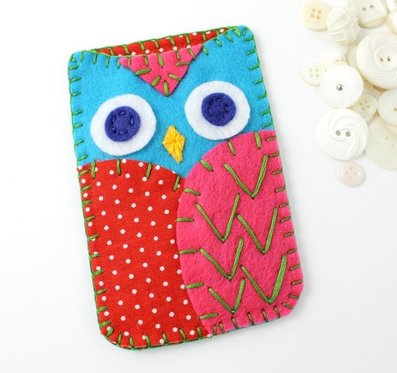 Felt Owl Iphone Case Cozy Samsung Galaxy MADE TO ORDER