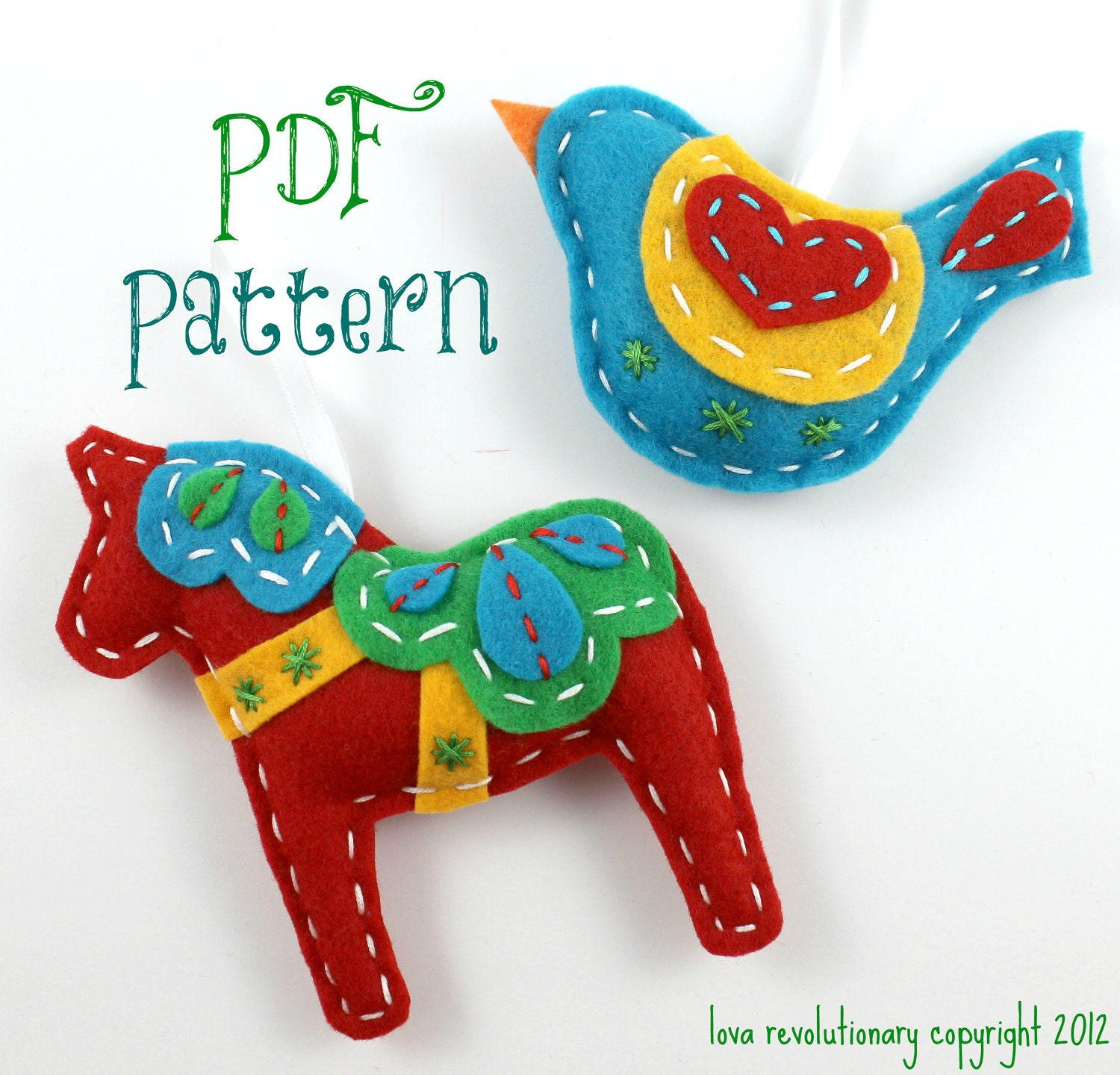 Christmas felt ornaments - Pdf Pattern Felt Dala Horse And Swedish Bird Xmas Ornament Patterns