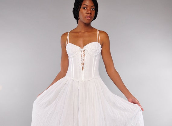 Amazing White Gauze Bustier Dress .. 80&39s Corset by sabrosavintage
