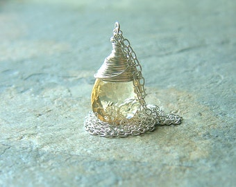 Citrine Necklace Sterling Silver Pendant Wire Wrap November Birthstone Jewelry winter holiday fashion