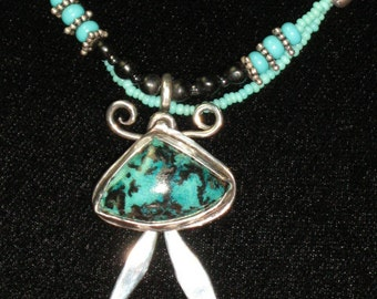 Shattuckite Beaded Necklace.