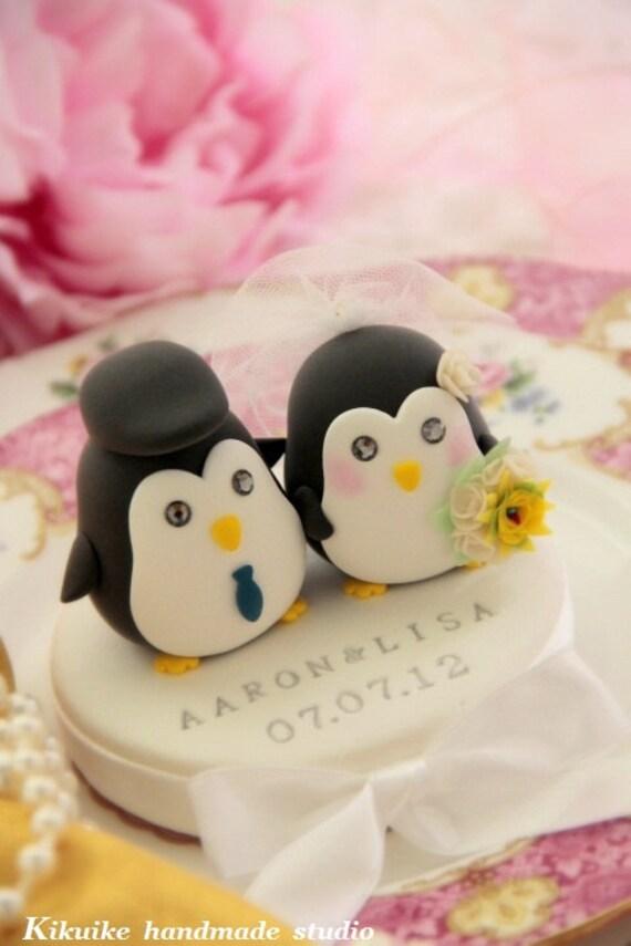 Penguins wedding cake topper, penguin wedding cake topper (K456)