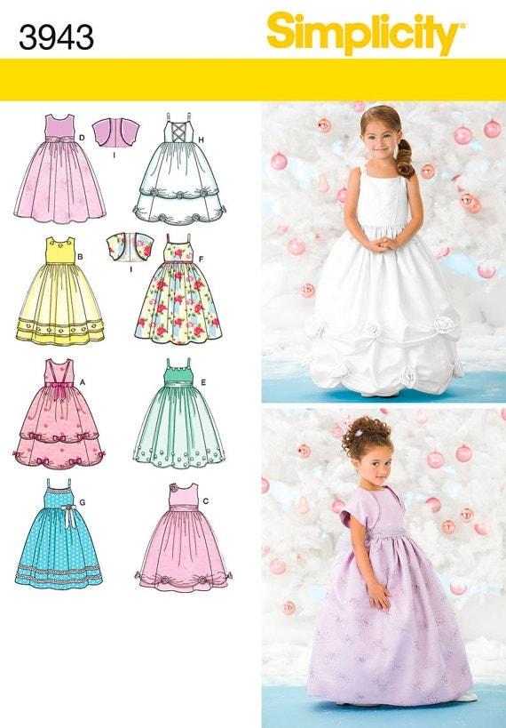 Princess Dress Gowns Patterns Simplicity 3943 Size Bb 5 6 7 8