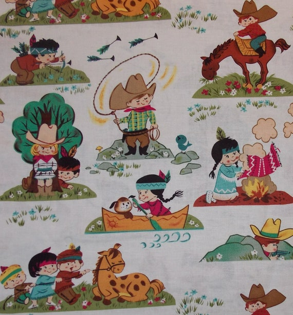 Retro cowboy and indian kids fabric bty by cutiepiecraftsupply for Retro kids fabric