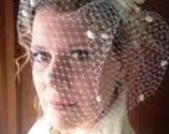 White Dotted Birdcage Veil-Sweet & Chic,flower birdcage, russian netting, bridal veil,birdcage veil, headpiece,wedding veil,blusher veil