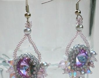 Swarovski Rvoli Crystals Pearls Grey Silver Opal   Earrings Beadwoven Beaded Beadweaving Unique Jewelry