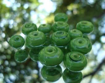 12 Green Handmade Bead Set