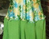 Fancy, Frilly, Lime Green, Tropical Print, Asymmetrical Hem, Slip Dress