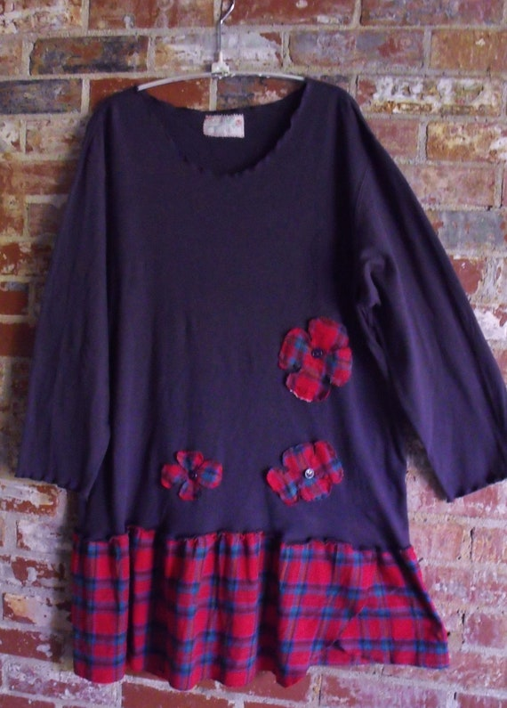 Plus Size Recycled Navy Cotton Stretchy Tee, School Girl Plaid, Funky Flowers, Fab Tunic