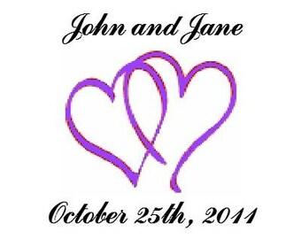 Wedding Water Bottle Labels Purple Hearts 100 labels