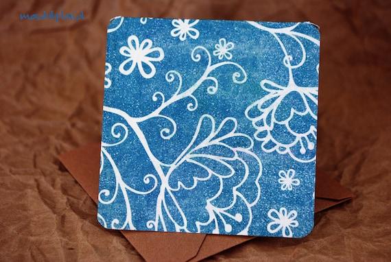 Blank Mini Card Set of 10, Blue Doodle Floral Design with Contrasting Chevron Stripe on the Inside, Metallic Mocha Envelopes, mad4plaid