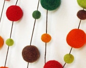 Autumn Wool Felt Ball Garland - 4 yards - 60 balls 1cm/2cm