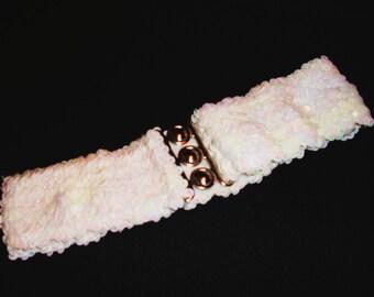 Vintage Sequin Stretch Belt in Iridescent White.