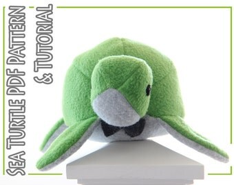Plush toy sewing PATTERN and TUTORIAL, fleece sea turtle, easy stuffed turtle instructions