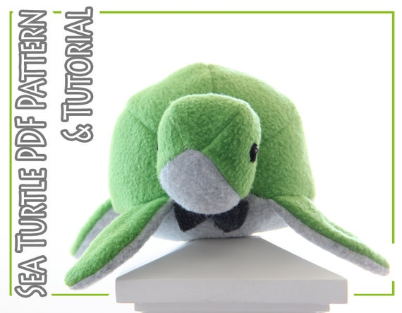 Plush toy sewing PATTERN and TUTORIAL, fleece sea turtle, easy stuffed ...